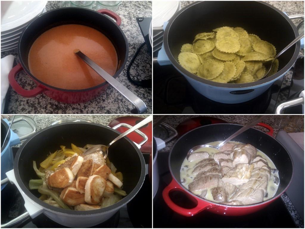 gazpacheo, mit Ziegenkäse gefüllte Ravioli, Fisch-Fenchel-Topf und Sau an Pilzragout: im Elements kann man Sonntags DELIkatEssen.