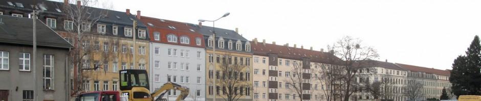 Die Friedensstraße vom Gelände der früheren Gasanstalt (ehem. DREWAG) aus gesehen.