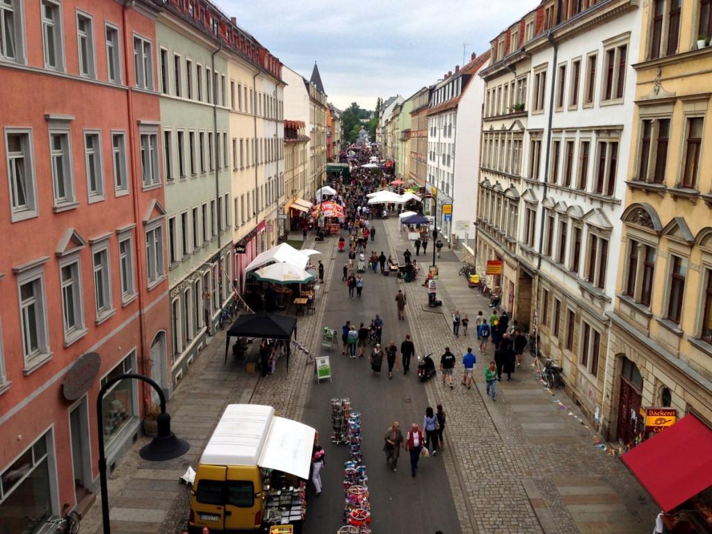 Rudolf-Leonhard-Straße aus der Vogelperspektive.