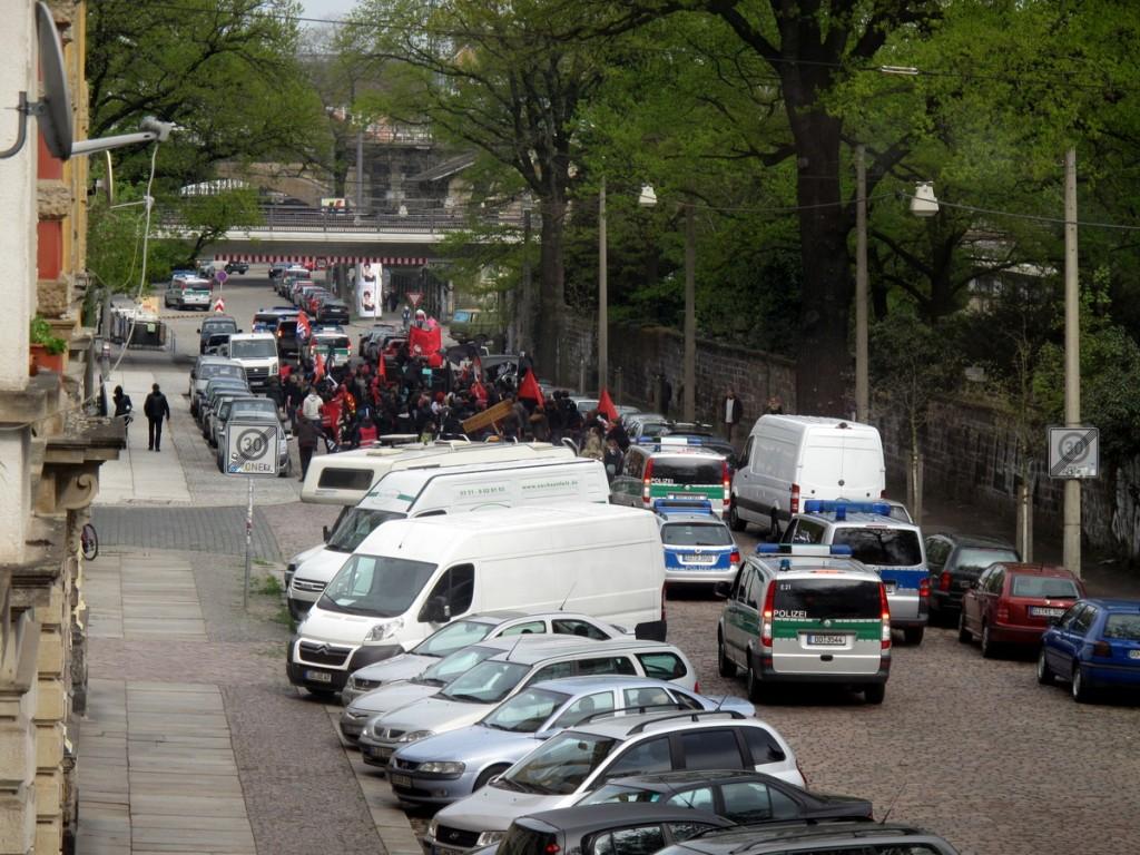 Maidemonstration in der Conradstraße.