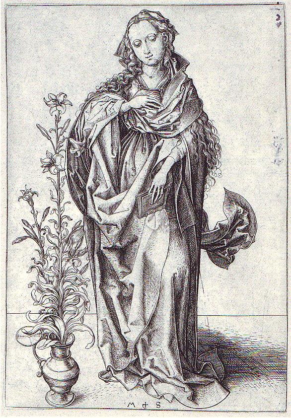 Martin Schongauer (um 1450-91), »Maria der Verkündigung«, Kupferstichkabinett d. Staatl. Kunsthalle Karlsruhe.