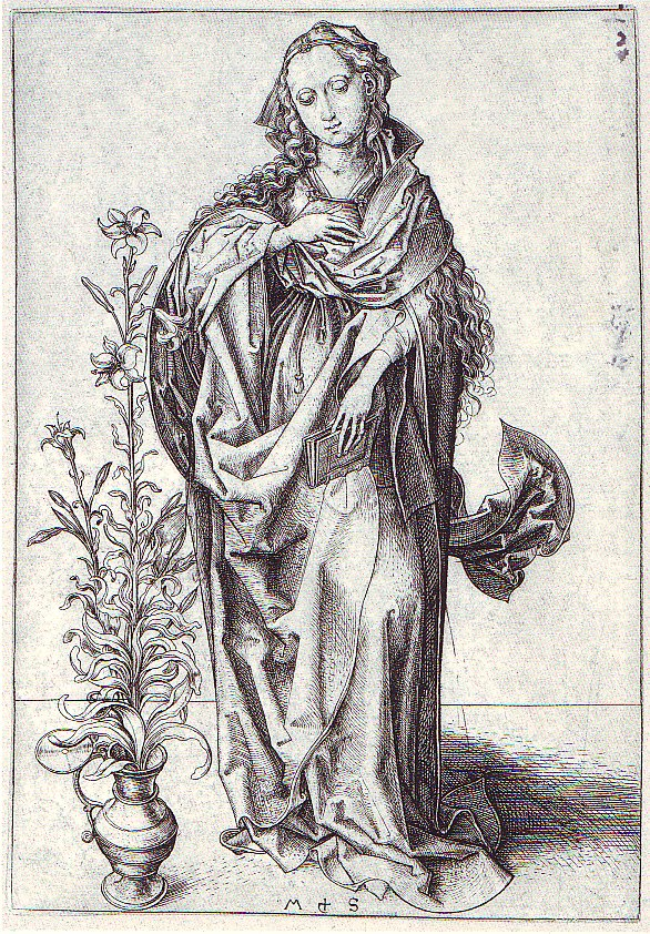 Martin Schongauer (um 1450-91), Maria der Verkndigung, Kupferstichkabinett d. Staatl. Kunsthalle Karlsruhe. 