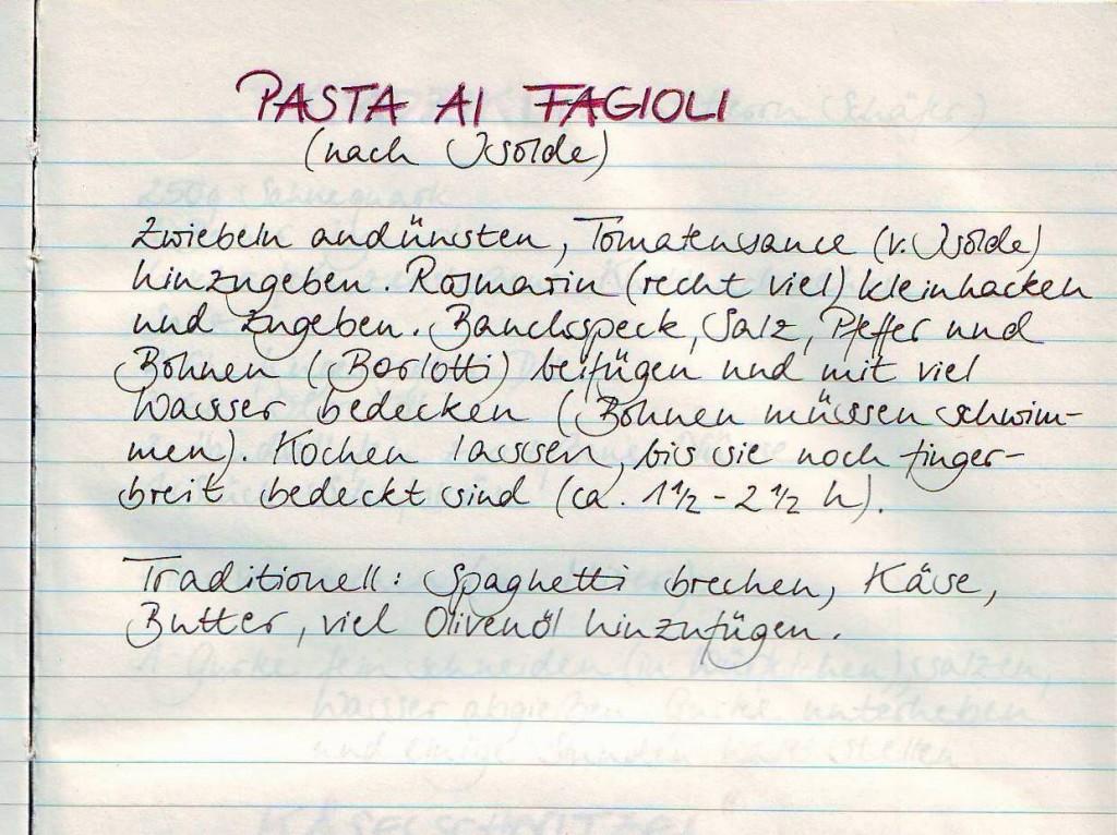 """Familienrezept: """"Pasta ai Fagioli""""."""