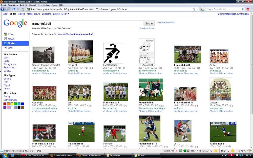 Frauenfußball bei Google. Screenshot: KM