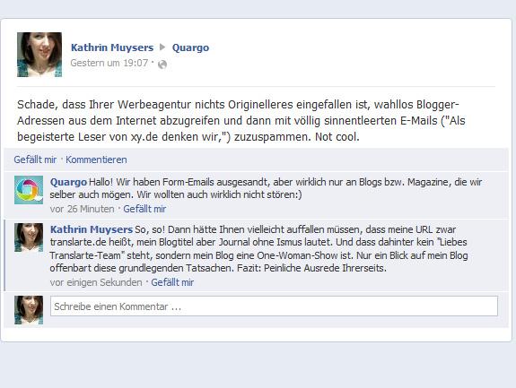 Screenshot einer Unterhaltung auf der Quargo-Facebook-Präsenz.