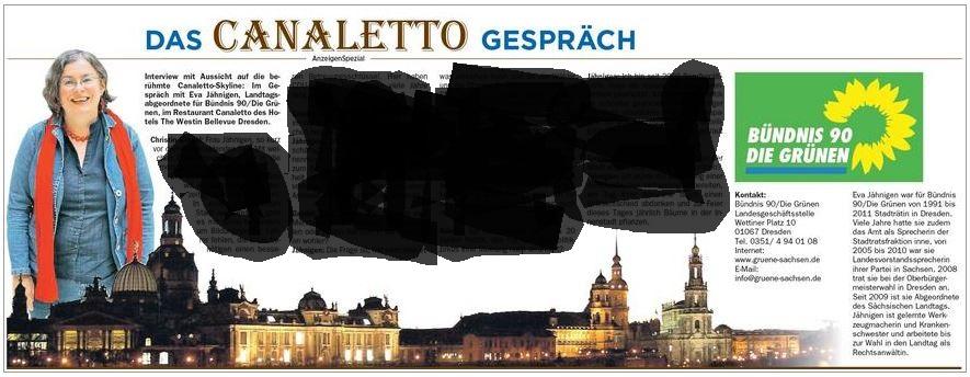 """Screenshot: """"Das CANALETTO Gespräch"""" – ein """"AnzeigenSpezial"""" in den DNN vom 30.8.2014."""